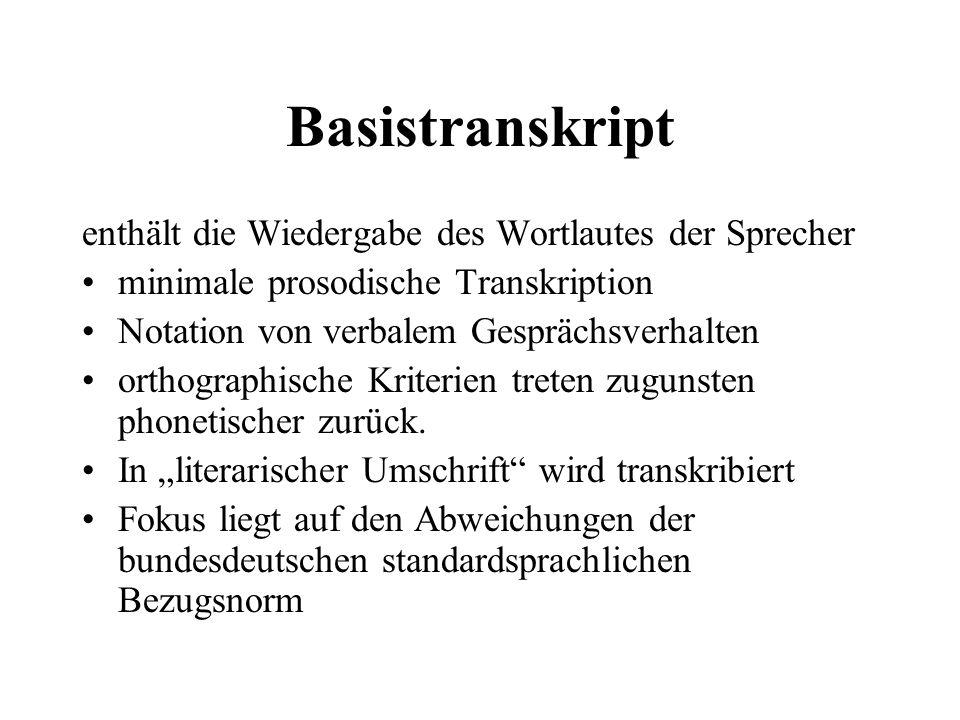 Basistranskript enthält die Wiedergabe des Wortlautes der Sprecher minimale prosodische Transkription Notation von verbalem Gesprächsverhalten orthogr