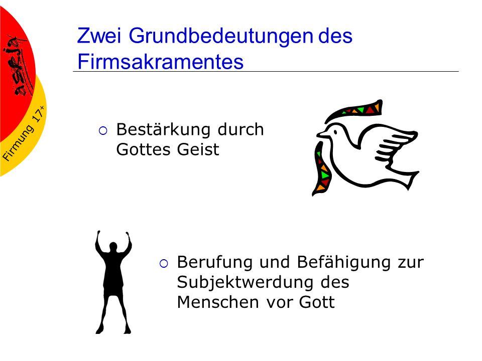 Firmung 17 + Drei theologische Grundaussagen Die Firmung ist die Bereitschaftserklärung des mündigen jungen Menschen zur konkreten Gemeinschaft einer Kirche, welche ihn/sie in eine Mitverantwortung nimmt