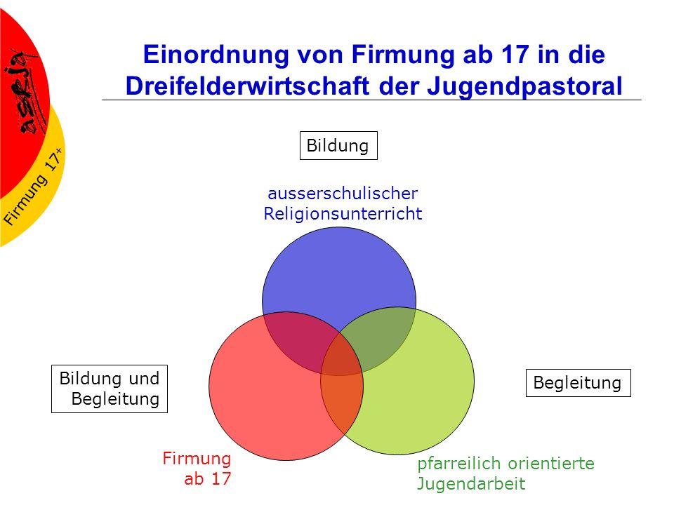 Firmung 17 + Einordnung von Firmung ab 17 in die Dreifelderwirtschaft der Jugendpastoral ausserschulischer Religionsunterricht Firmung ab 17 pfarreili