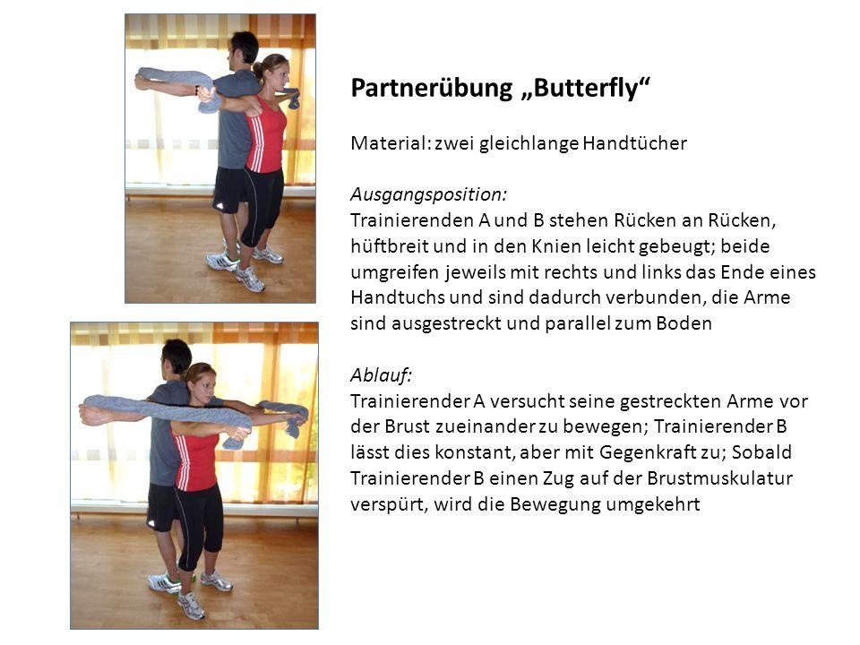Partnerübung Butterfly Material: zwei gleichlange Handtücher Ausgangsposition: Trainierenden A und B stehen Rücken an Rücken, hüftbreit und in den Kni