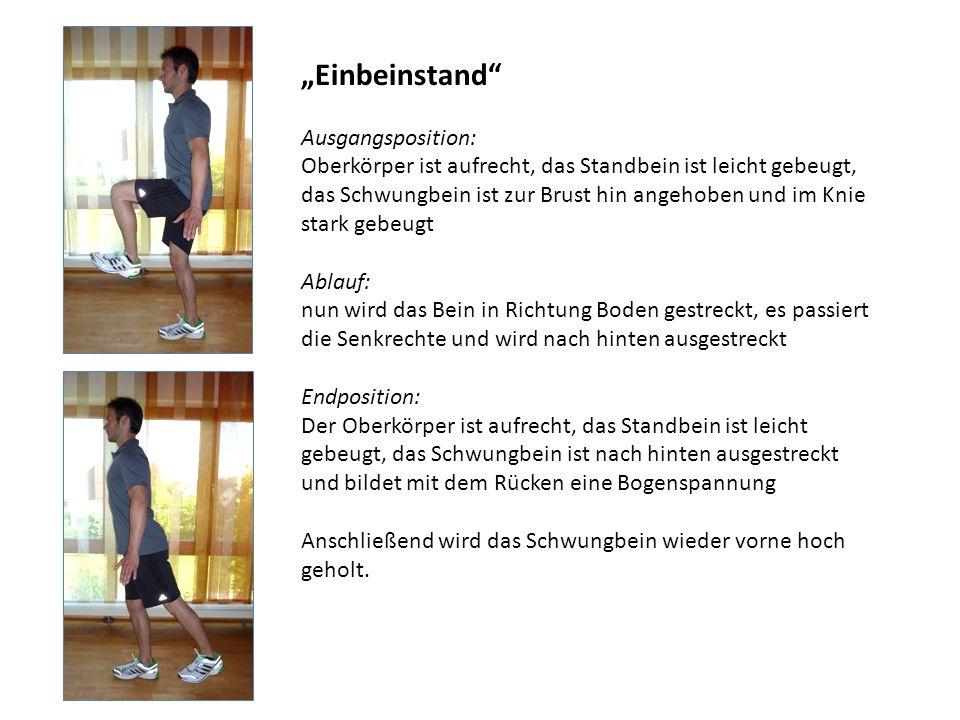 Einbeinstand Ausgangsposition: Oberkörper ist aufrecht, das Standbein ist leicht gebeugt, das Schwungbein ist zur Brust hin angehoben und im Knie star