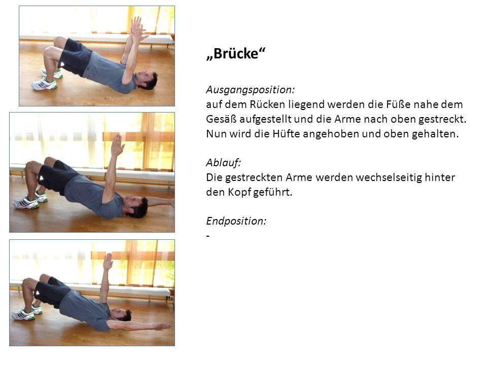 Brücke Ausgangsposition: auf dem Rücken liegend werden die Füße nahe dem Gesäß aufgestellt und die Arme nach oben gestreckt. Nun wird die Hüfte angeho