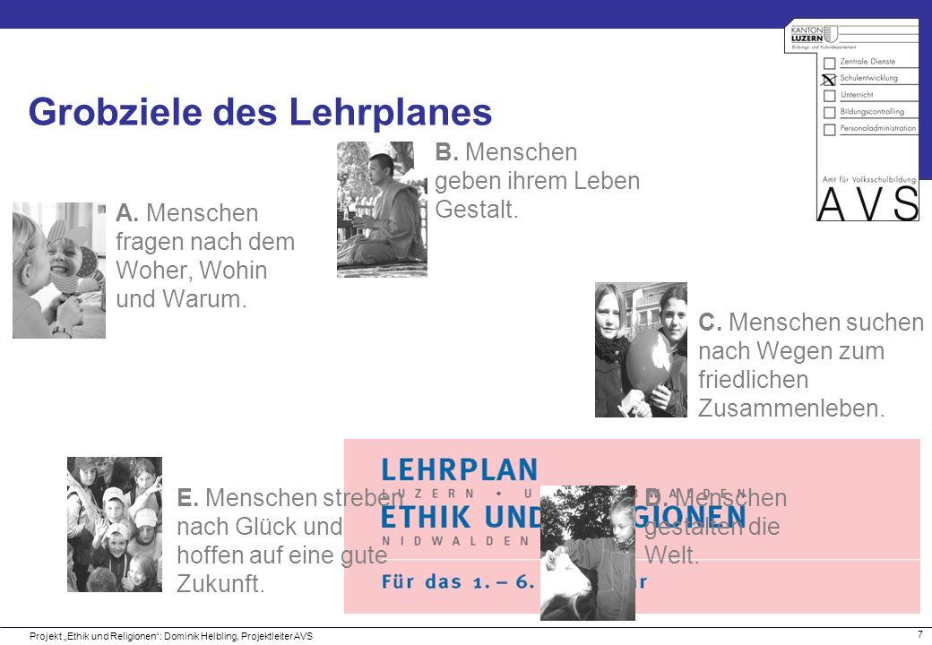 18 Grobziele des Lehrplanes Projekt Ethik und Religionen: Dominik Helbling, Projektleiter AVS A.