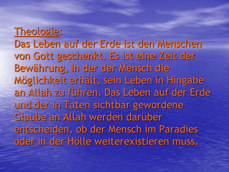 Theologie: Das Leben auf der Erde ist den Menschen von Gott geschenkt. Es ist eine Zeit der Bewährung, in der der Mensch die Möglichkeit erhält, sein