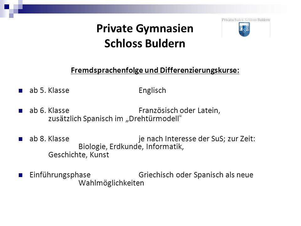 Fremdsprachenfolge und Differenzierungskurse: ab 5.