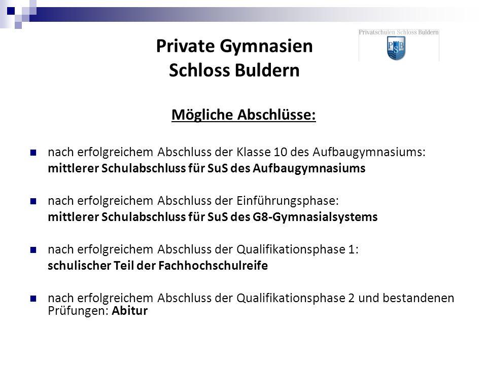 Mögliche Abschlüsse: nach erfolgreichem Abschluss der Klasse 10 des Aufbaugymnasiums: mittlerer Schulabschluss für SuS des Aufbaugymnasiums nach erfol