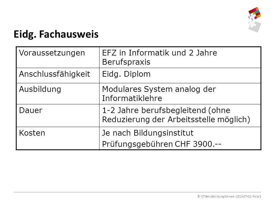 © ICT-Berufsbildung Schweiz - 2010-07-02 - Folie 3 Eidg.
