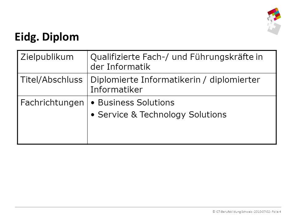 © ICT-Berufsbildung Schweiz - 2010-07-02 - Folie 4 Eidg.