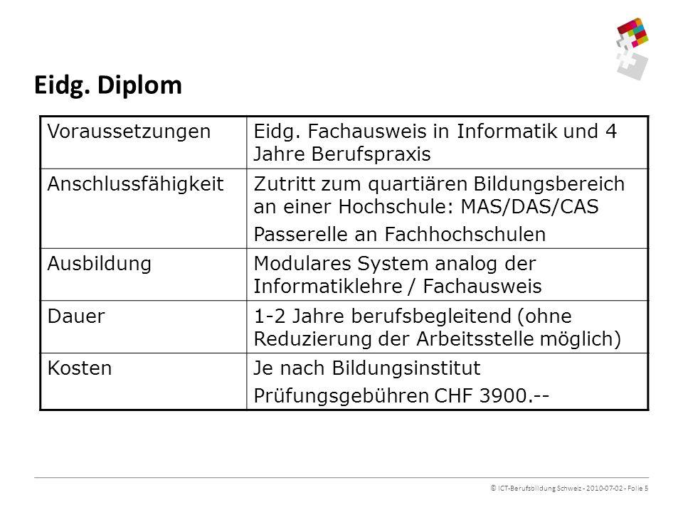 © ICT-Berufsbildung Schweiz - 2010-07-02 - Folie 5 Eidg.