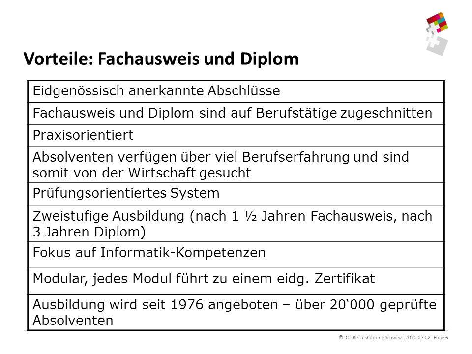 © ICT-Berufsbildung Schweiz - 2010-07-02 - Folie 6 Vorteile: Fachausweis und Diplom Eidgenössisch anerkannte Abschlüsse Fachausweis und Diplom sind auf Berufstätige zugeschnitten Praxisorientiert Absolventen verfügen über viel Berufserfahrung und sind somit von der Wirtschaft gesucht Prüfungsorientiertes System Zweistufige Ausbildung (nach 1 ½ Jahren Fachausweis, nach 3 Jahren Diplom) Fokus auf Informatik-Kompetenzen Modular, jedes Modul führt zu einem eidg.