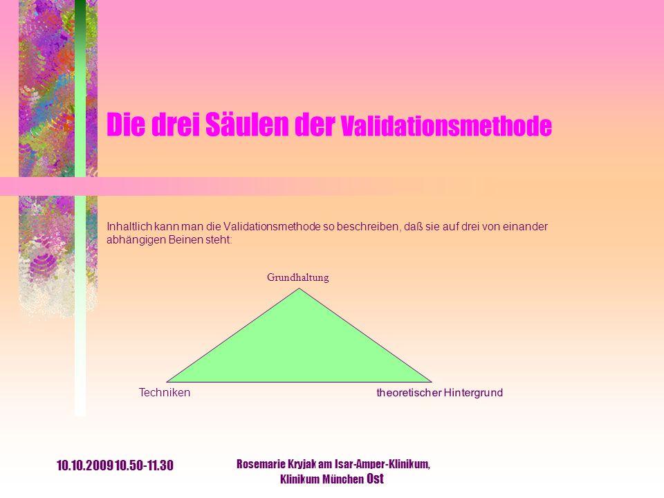 10.10.2009 10.50-11.30 Rosemarie Kryjak am Isar-Amper-Klinikum, Klinikum München Ost Die drei Säulen der Validationsmethode Inhaltlich kann man die Va