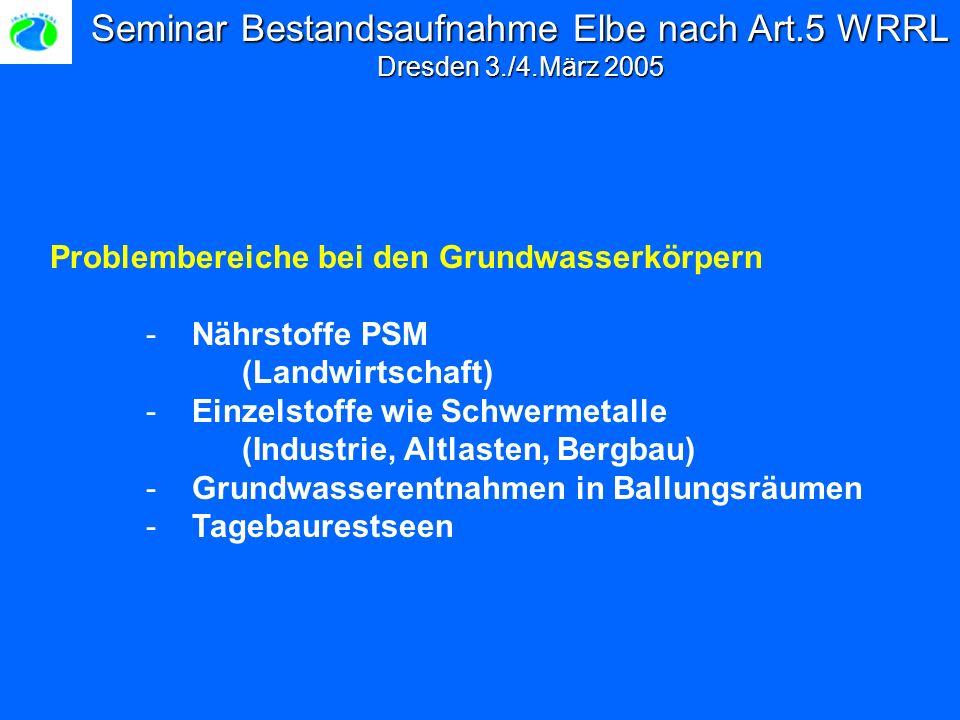 Seminar Bestandsaufnahme Elbe nach Art.5 WRRL Dresden 3./4.März 2005 Problembereiche bei den Grundwasserkörpern - Nährstoffe PSM (Landwirtschaft) - Einzelstoffe wie Schwermetalle (Industrie, Altlasten, Bergbau) - Grundwasserentnahmen in Ballungsräumen - Tagebaurestseen