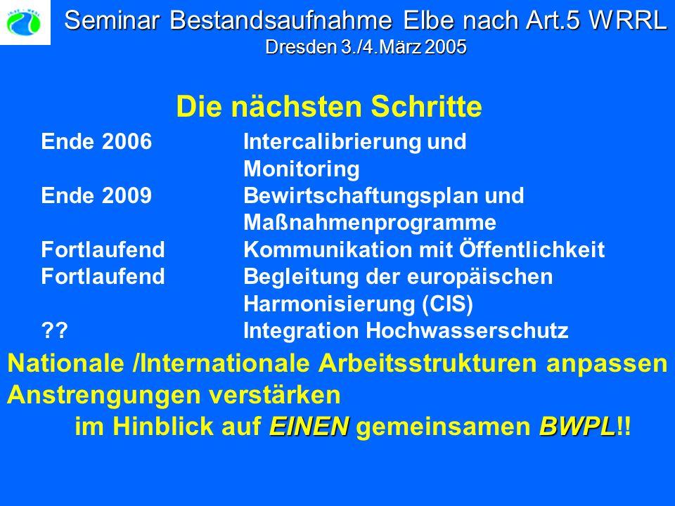 Seminar Bestandsaufnahme Elbe nach Art.5 WRRL Dresden 3./4.März 2005 Die nächsten Schritte Ende 2006 Intercalibrierung und Monitoring Ende 2009Bewirtschaftungsplan und Maßnahmenprogramme Fortlaufend Kommunikation mit Öffentlichkeit FortlaufendBegleitung der europäischen Harmonisierung (CIS) Integration Hochwasserschutz Nationale /Internationale Arbeitsstrukturen anpassen EINEN BWPL Anstrengungen verstärken im Hinblick auf EINEN gemeinsamen BWPL!!