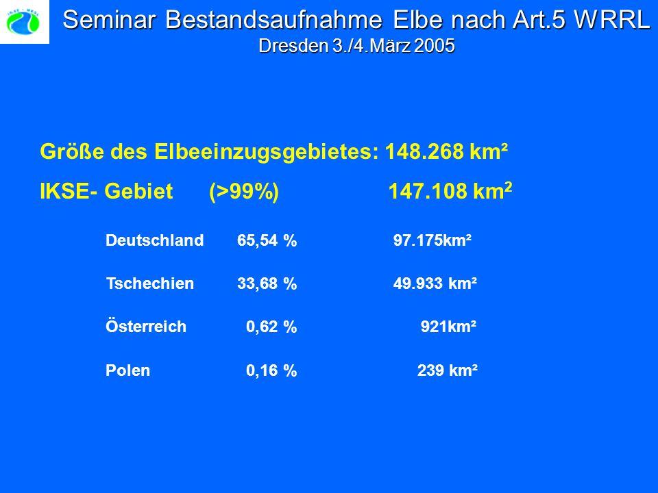 Seminar Bestandsaufnahme Elbe nach Art.5 WRRL Dresden 3./4.März 2005 Größe des Elbeeinzugsgebietes: 148.268 km² IKSE- Gebiet (>99%) 147.108 km 2 Deutschland 65,54 % 97.175km² Tschechien33,68 % 49.933 km² Österreich 0,62 % 921km² Polen 0,16 % 239 km²