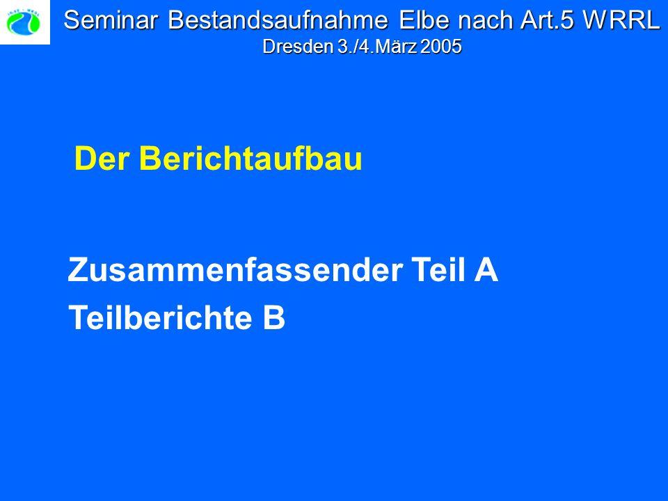 Seminar Bestandsaufnahme Elbe nach Art.5 WRRL Dresden 3./4.März 2005 Zusammenfassender Teil A Teilberichte B Der Berichtaufbau