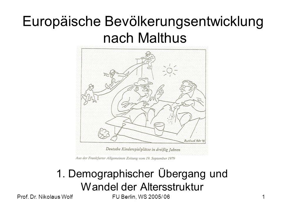 Prof. Dr. Nikolaus WolfFU Berlin, WS 2005/ 061 Europäische Bevölkerungsentwicklung nach Malthus 1. Demographischer Übergang und Wandel der Altersstruk