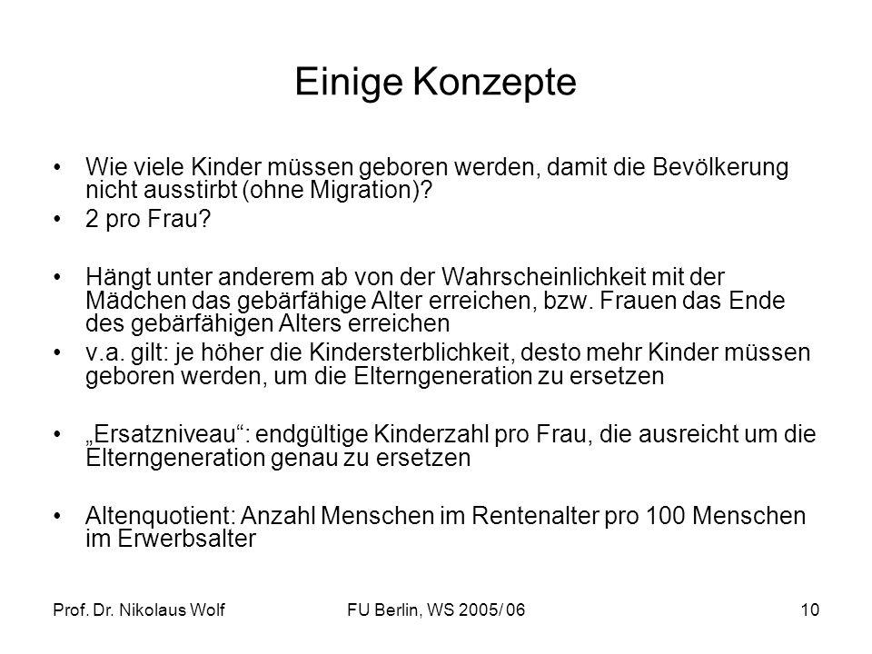 Prof. Dr. Nikolaus WolfFU Berlin, WS 2005/ 0610 Einige Konzepte Wie viele Kinder müssen geboren werden, damit die Bevölkerung nicht ausstirbt (ohne Mi