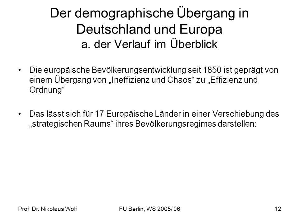 Prof. Dr. Nikolaus WolfFU Berlin, WS 2005/ 0612 Der demographische Übergang in Deutschland und Europa a. der Verlauf im Überblick Die europäische Bevö