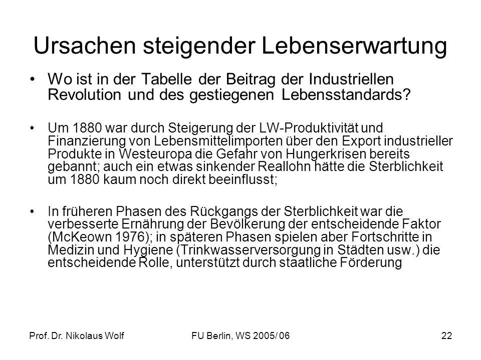 Prof. Dr. Nikolaus WolfFU Berlin, WS 2005/ 0622 Ursachen steigender Lebenserwartung Wo ist in der Tabelle der Beitrag der Industriellen Revolution und