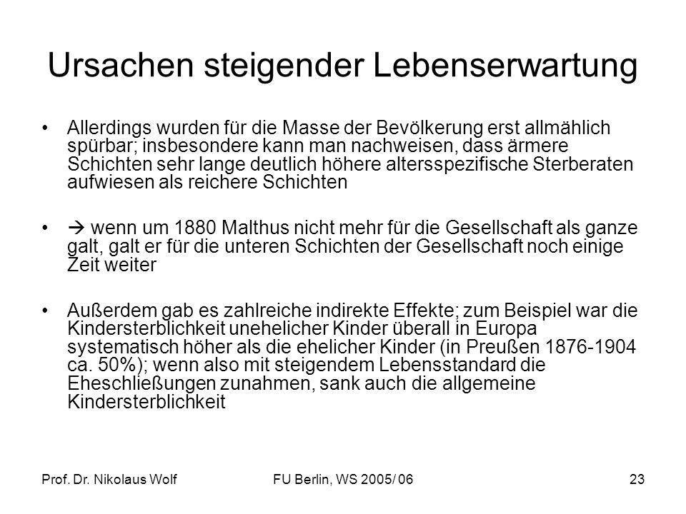 Prof. Dr. Nikolaus WolfFU Berlin, WS 2005/ 0623 Ursachen steigender Lebenserwartung Allerdings wurden für die Masse der Bevölkerung erst allmählich sp