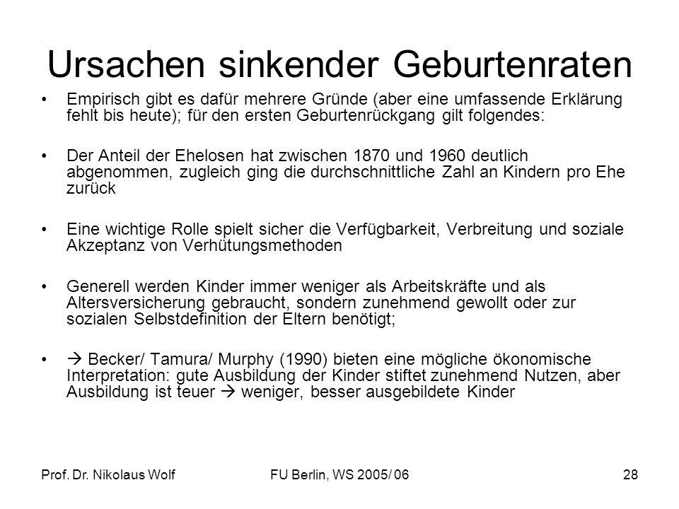 Prof. Dr. Nikolaus WolfFU Berlin, WS 2005/ 0628 Ursachen sinkender Geburtenraten Empirisch gibt es dafür mehrere Gründe (aber eine umfassende Erklärun