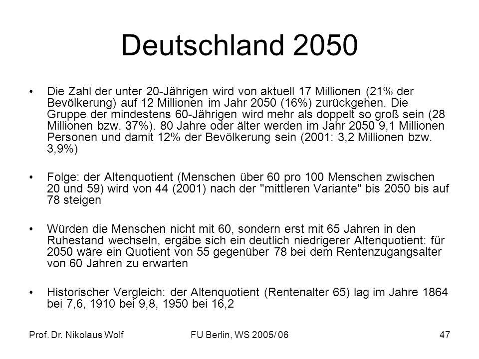 Prof. Dr. Nikolaus WolfFU Berlin, WS 2005/ 0647 Deutschland 2050 Die Zahl der unter 20-Jährigen wird von aktuell 17 Millionen (21% der Bevölkerung) au