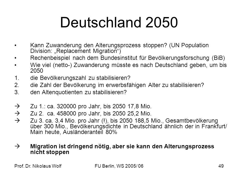 Prof. Dr. Nikolaus WolfFU Berlin, WS 2005/ 0649 Deutschland 2050 Kann Zuwanderung den Alterungsprozess stoppen? (UN Population Division: Replacement M