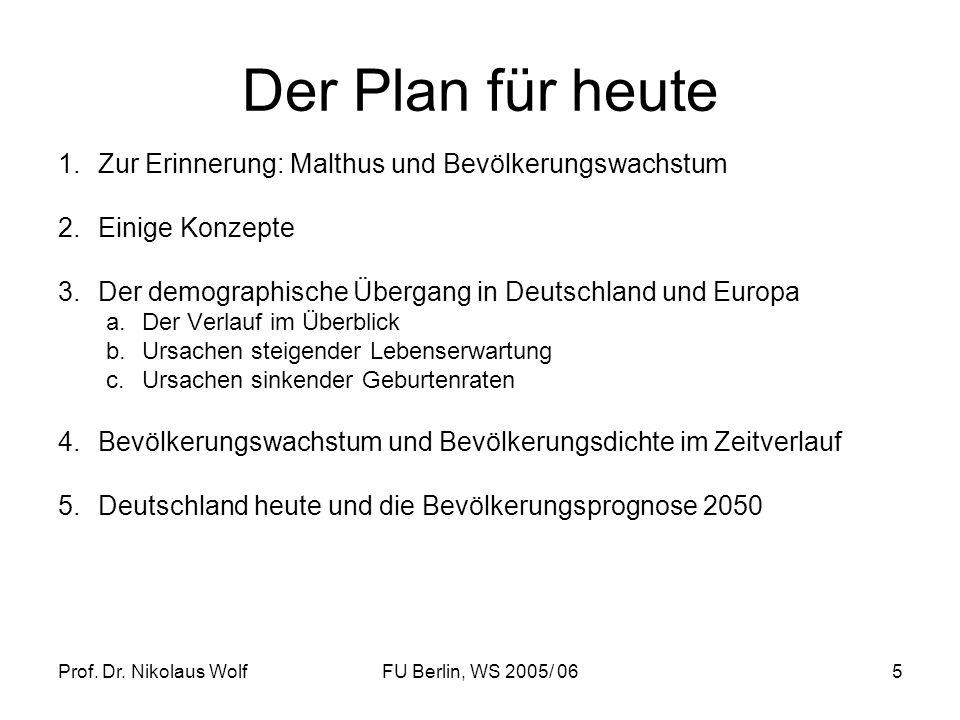 Prof. Dr. Nikolaus WolfFU Berlin, WS 2005/ 065 Der Plan für heute 1.Zur Erinnerung: Malthus und Bevölkerungswachstum 2.Einige Konzepte 3.Der demograph