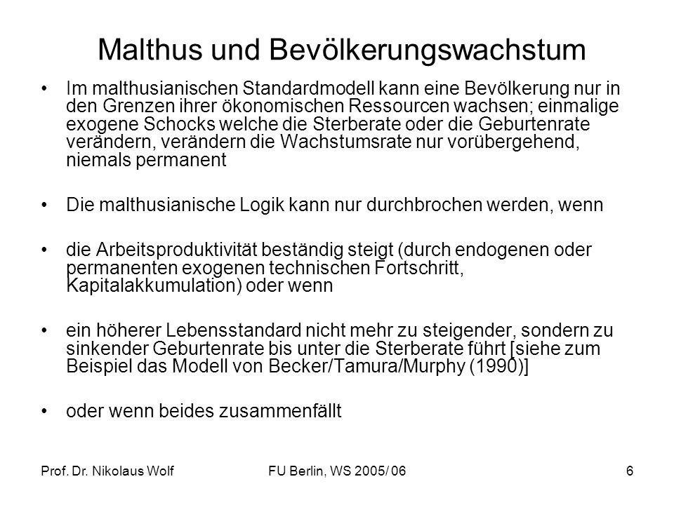 Prof. Dr. Nikolaus WolfFU Berlin, WS 2005/ 066 Malthus und Bevölkerungswachstum Im malthusianischen Standardmodell kann eine Bevölkerung nur in den Gr