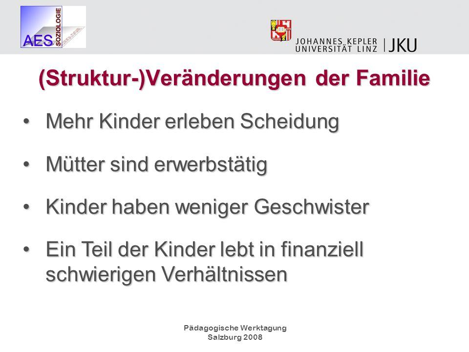 Pädagogische Werktagung Salzburg 2008 (Struktur-)Veränderungen der Familie Mehr Kinder erleben ScheidungMehr Kinder erleben Scheidung Mütter sind erwe