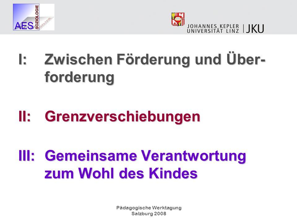Pädagogische Werktagung Salzburg 2008 I:Zwischen Förderung und Über- forderung II:Grenzverschiebungen III:Gemeinsame Verantwortung zum Wohl des Kindes