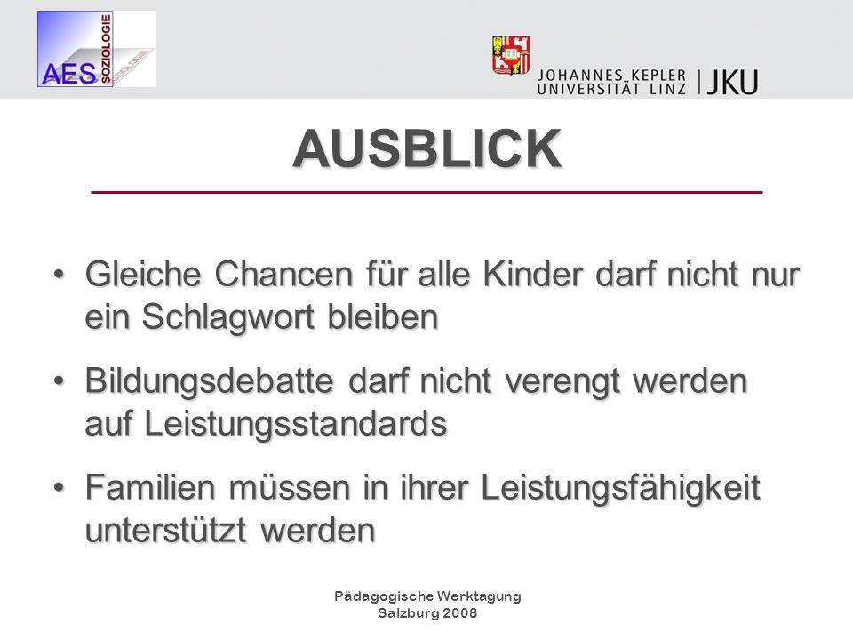 Pädagogische Werktagung Salzburg 2008 AUSBLICK Gleiche Chancen für alle Kinder darf nicht nur ein Schlagwort bleibenGleiche Chancen für alle Kinder da