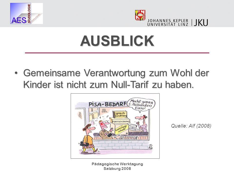 Pädagogische Werktagung Salzburg 2008 AUSBLICK Gemeinsame Verantwortung zum Wohl der Kinder ist nicht zum Null-Tarif zu haben.Gemeinsame Verantwortung