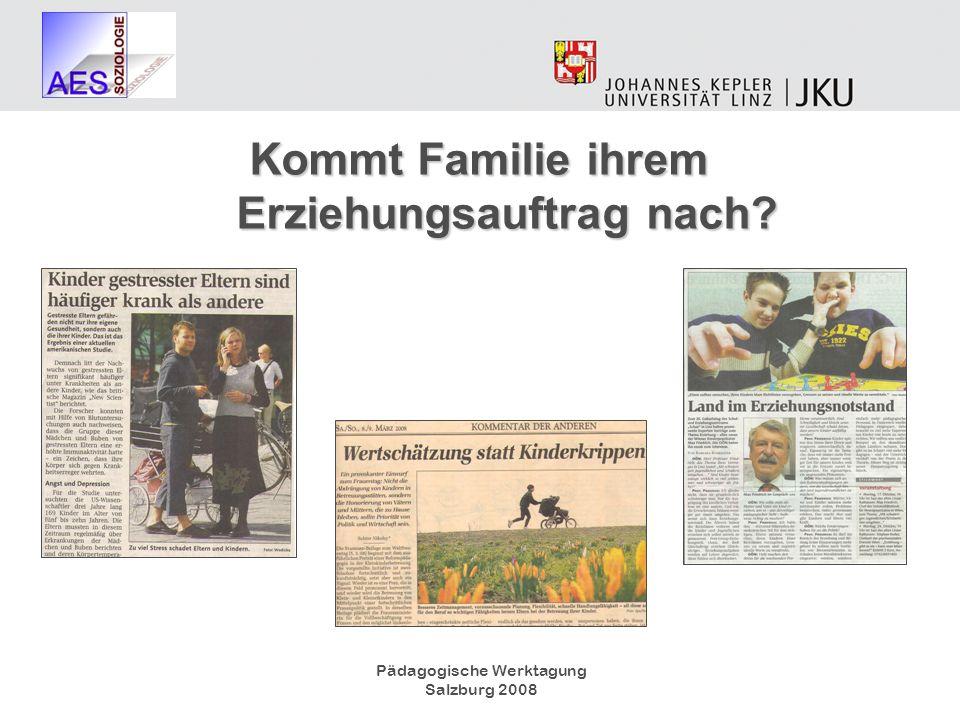 Pädagogische Werktagung Salzburg 2008 Kommt Familie ihrem Erziehungsauftrag nach? Kommt Familie ihrem Erziehungsauftrag nach?