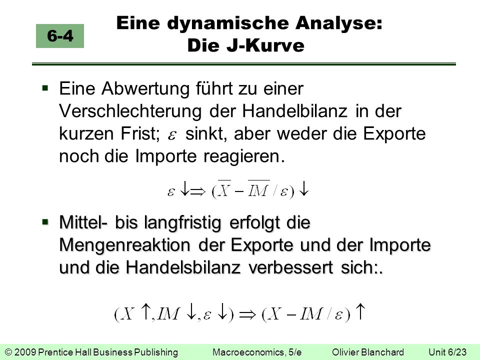 © 2009 Prentice Hall Business Publishing Macroeconomics, 5/e Olivier Blanchard © 2009 Prentice Hall Business Publishing Macroeconomics, 5/e Olivier Blanchard Unit 6/23 Eine dynamische Analyse: Die J-Kurve 6-4 Eine Abwertung führt zu einer Verschlechterung der Handelbilanz in der kurzen Frist; sinkt, aber weder die Exporte noch die Importe reagieren.