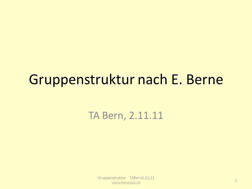 Gruppenstruktur nach E. Berne TA Bern, 2.11.11 1 Gruppenstruktur TABern2.11.11 www.hansjoss.ch