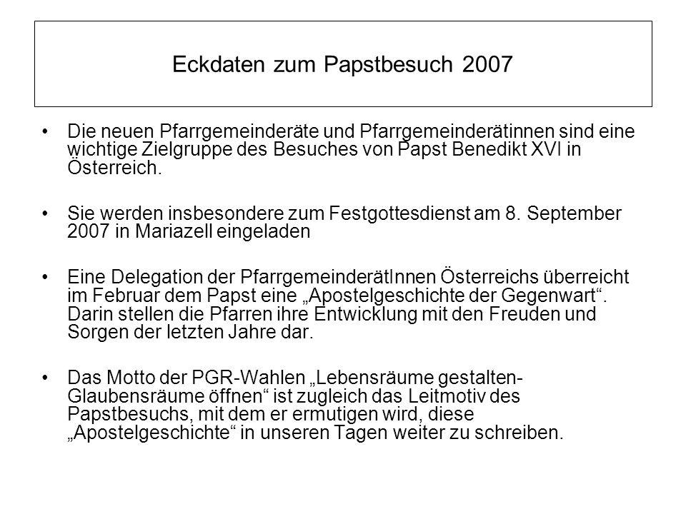 Eckdaten zum Papstbesuch 2007 Die neuen Pfarrgemeinderäte und Pfarrgemeinderätinnen sind eine wichtige Zielgruppe des Besuches von Papst Benedikt XVI in Österreich.
