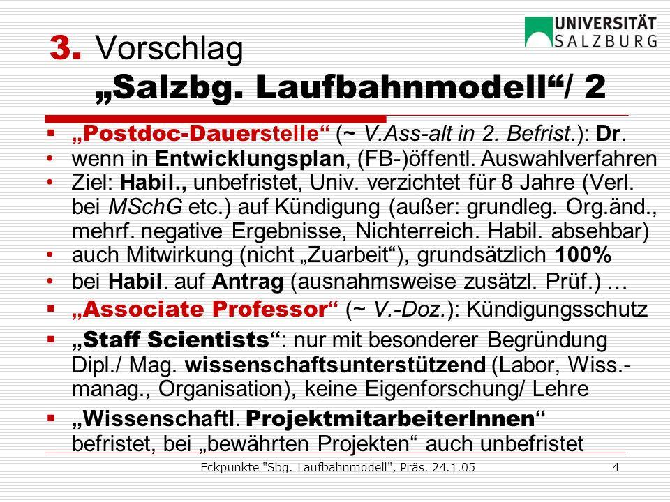 Eckpunkte Sbg. Laufbahnmodell , Präs. 24.1.053 3.