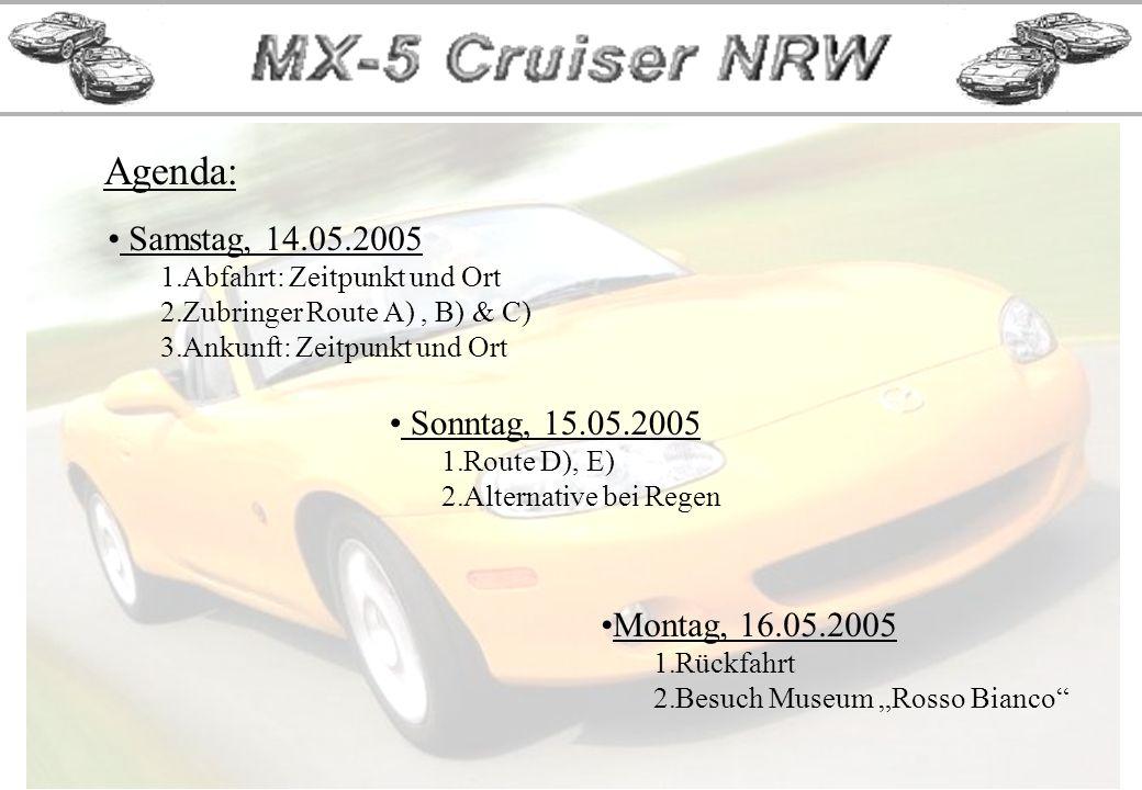 Sonntag, 15.05.2005, Route D) ca. 110 KM, Abfahrt 10:00 Uhr Rastplatz Franziskanerkloster Engelberg