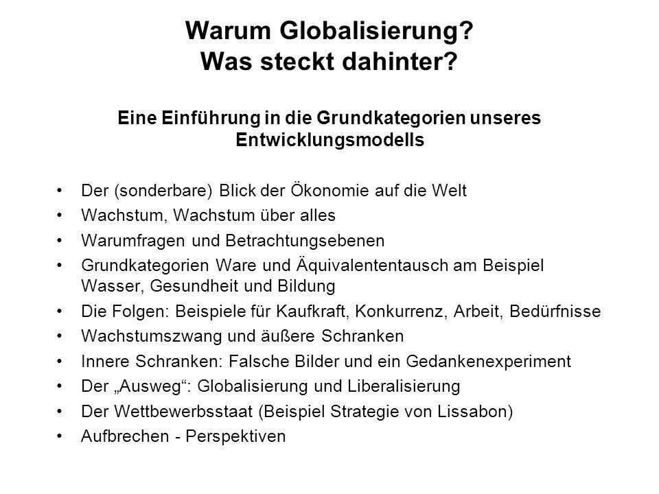 Warum Globalisierung? Was steckt dahinter? Eine Einführung in die Grundkategorien unseres Entwicklungsmodells Der (sonderbare) Blick der Ökonomie auf