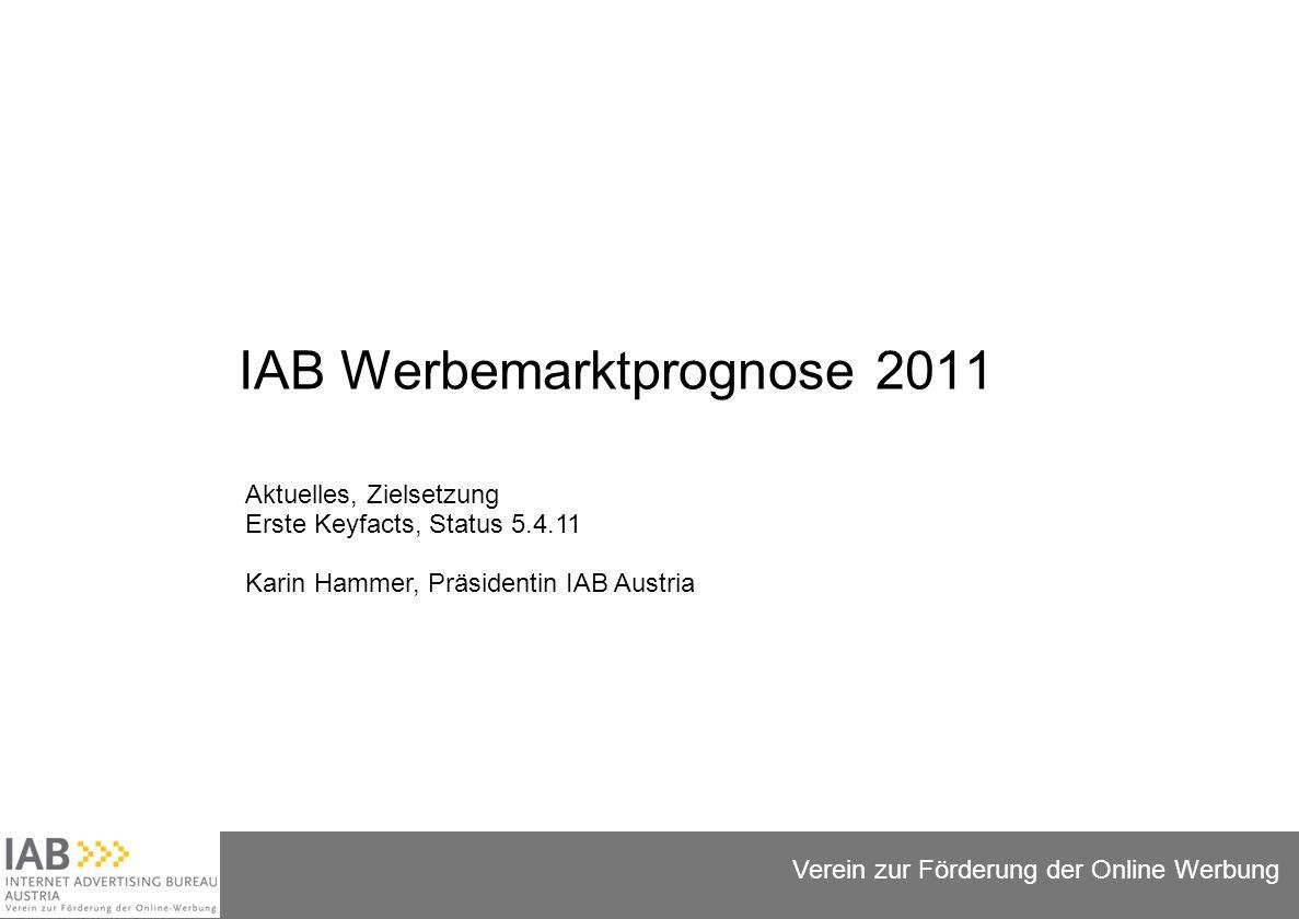 Folie 1 Verein zur Förderung der Online Werbung IAB Werbemarktprognose 2011 Aktuelles, Zielsetzung Erste Keyfacts, Status 5.4.11 Karin Hammer, Präsidentin IAB Austria
