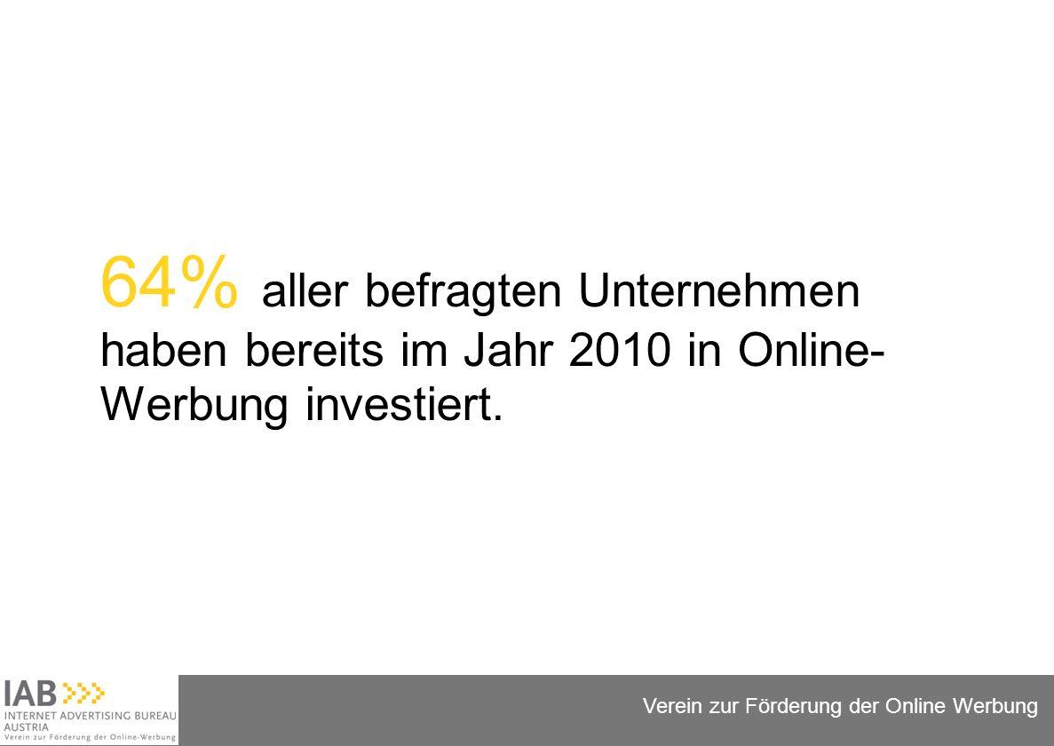 Folie 6 Verein zur Förderung der Online Werbung 64% aller befragten Unternehmen haben bereits im Jahr 2010 in Online- Werbung investiert.