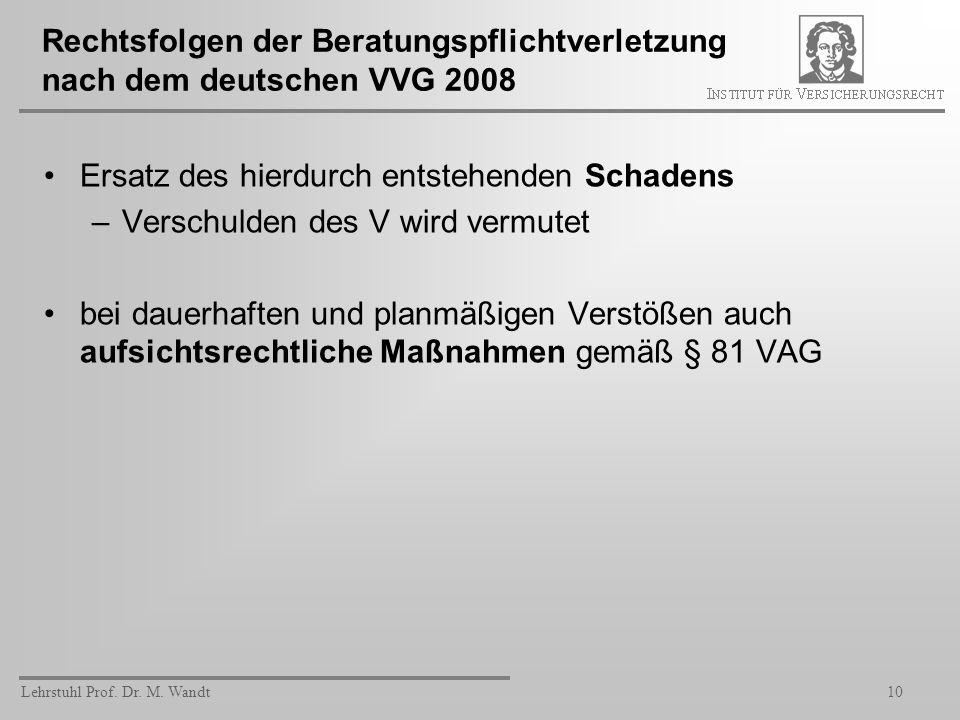 Lehrstuhl Prof. Dr. M. Wandt10 Rechtsfolgen der Beratungspflichtverletzung nach dem deutschen VVG 2008 Ersatz des hierdurch entstehenden Schadens –Ver