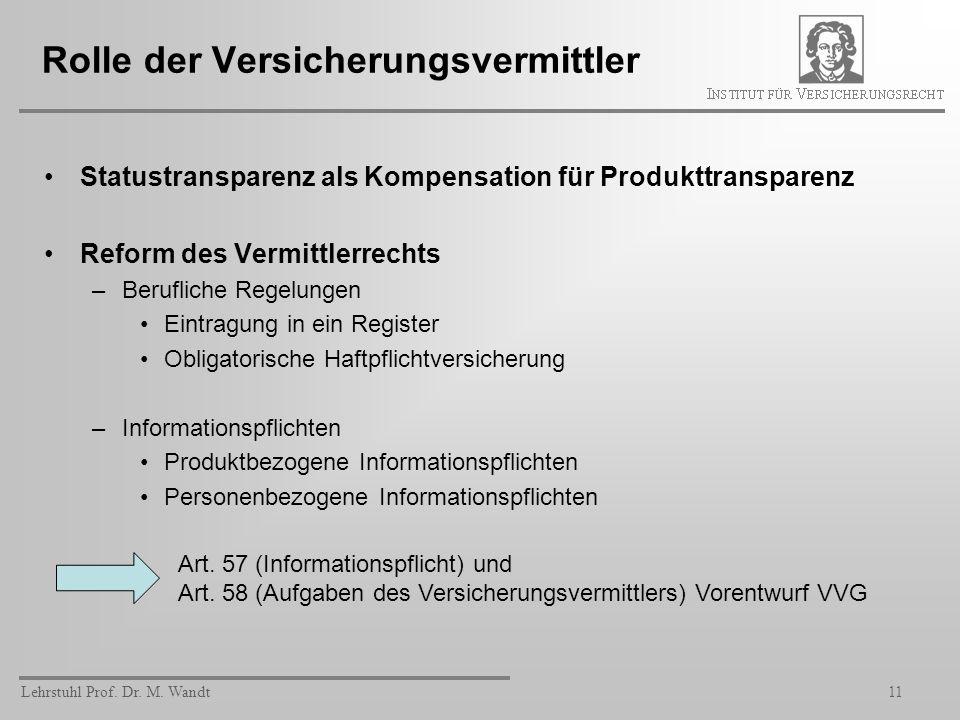 Lehrstuhl Prof. Dr. M. Wandt11 Rolle der Versicherungsvermittler Statustransparenz als Kompensation für Produkttransparenz Reform des Vermittlerrechts