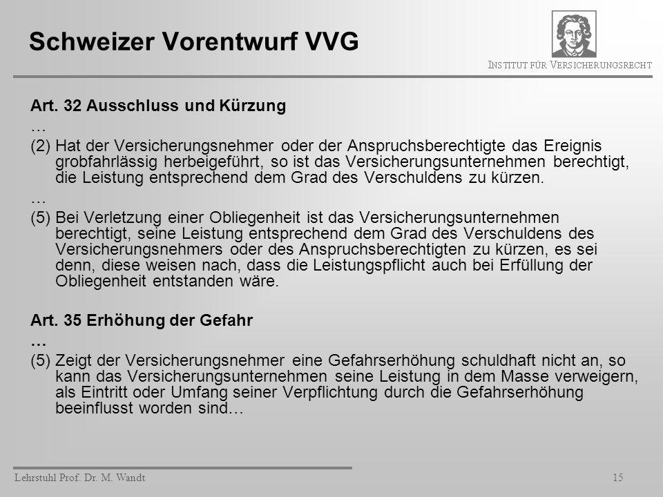 Lehrstuhl Prof. Dr. M. Wandt15 Schweizer Vorentwurf VVG Art. 32 Ausschluss und Kürzung … (2) Hat der Versicherungsnehmer oder der Anspruchsberechtigte