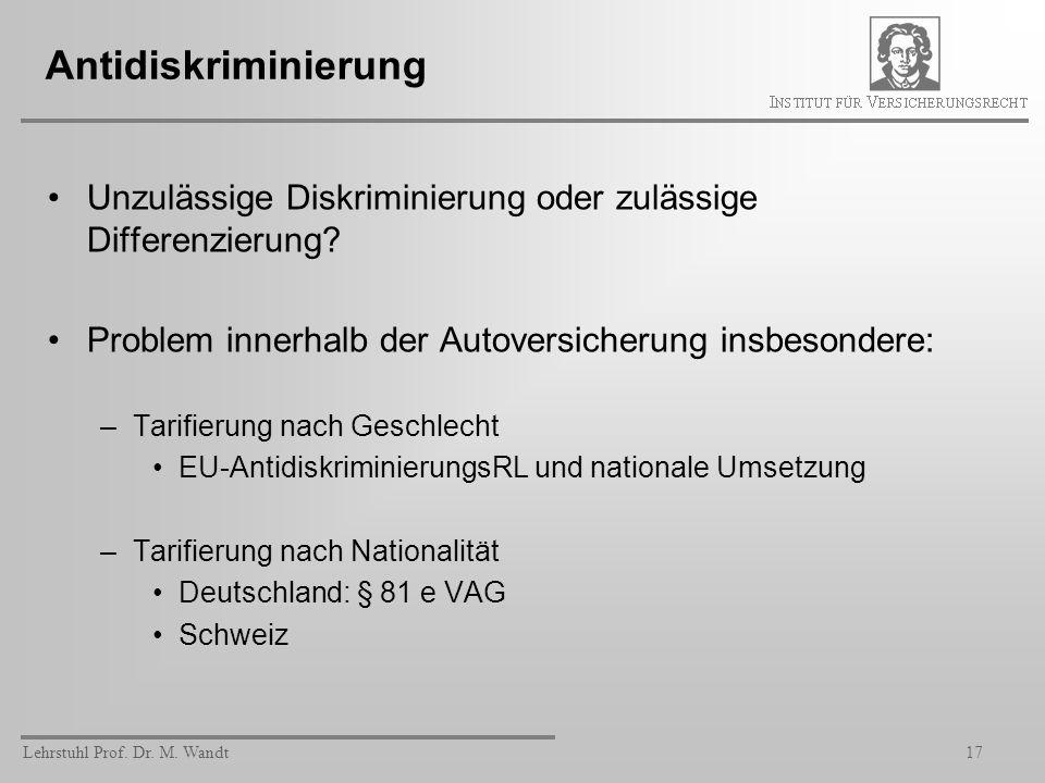 Lehrstuhl Prof. Dr. M. Wandt17 Antidiskriminierung Unzulässige Diskriminierung oder zulässige Differenzierung? Problem innerhalb der Autoversicherung
