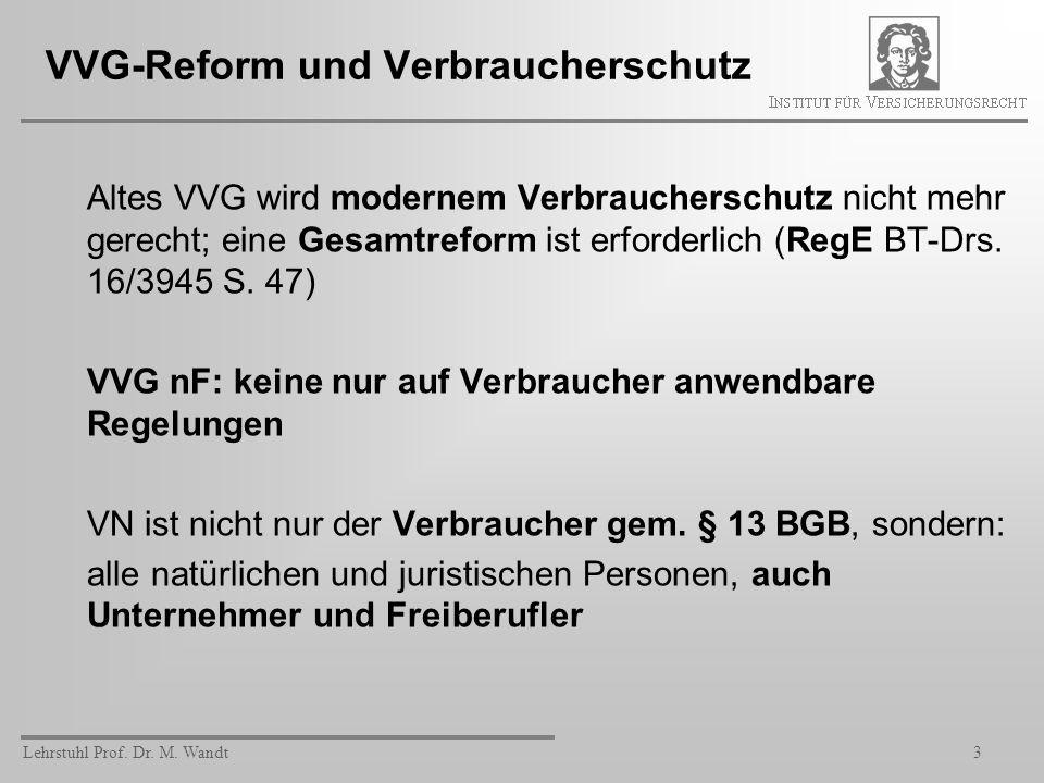Lehrstuhl Prof. Dr. M. Wandt3 VVG-Reform und Verbraucherschutz Altes VVG wird modernem Verbraucherschutz nicht mehr gerecht; eine Gesamtreform ist erf