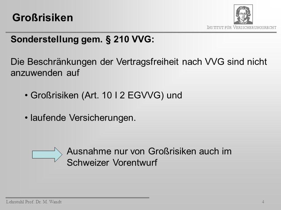 Lehrstuhl Prof. Dr. M. Wandt4 Großrisiken Sonderstellung gem. § 210 VVG: Die Beschränkungen der Vertragsfreiheit nach VVG sind nicht anzuwenden auf Gr