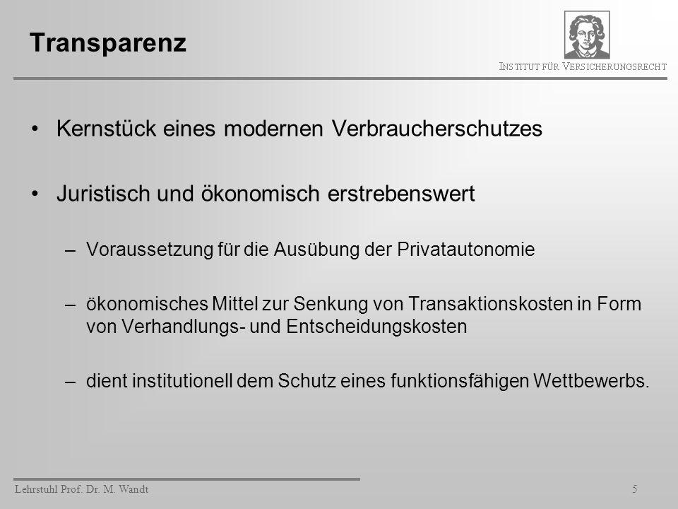 Lehrstuhl Prof. Dr. M. Wandt5 Transparenz Kernstück eines modernen Verbraucherschutzes Juristisch und ökonomisch erstrebenswert –Voraussetzung für die