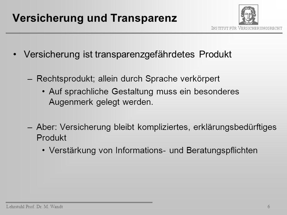 Lehrstuhl Prof. Dr. M. Wandt6 Versicherung und Transparenz Versicherung ist transparenzgefährdetes Produkt –Rechtsprodukt; allein durch Sprache verkör